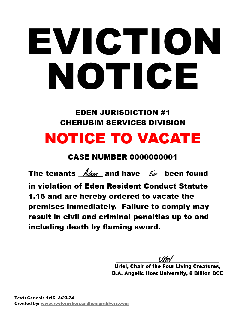 Adam and Eve eviction notice png